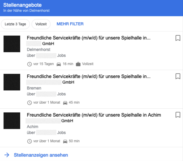 Spielhallen Jobs Google Beispielanzeige